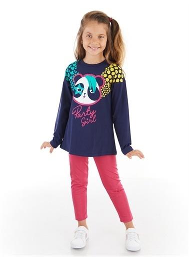 Denokids Panda Girl Kız Tayt Takım Renkli